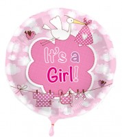 "Runder Folienballon mit Storch ""It's a Girl"""