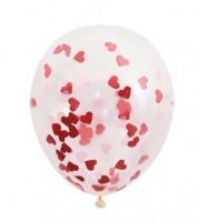"""Konfetti-Ballons """"Herzen"""" - rot - 5 Stück"""