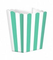 Popcornboxen mit Streifen - türkis - 5 Stück