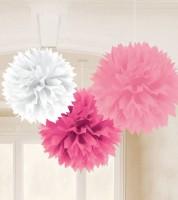 Pom Pom Set - rosa/pink/weiß - 3-teilig - 40 cm