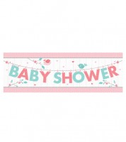 "Baby Shower-Partybanner ""Hello Baby - rosa"" - 152 cm"