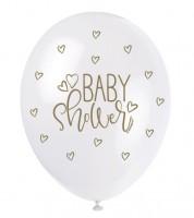 "Perlmutt-Luftballons ""Baby Shower"" - weiß/gold - 30 cm - 5 Stück"