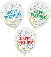 "Konfetti-Ballons ""Happy Birthday"" - bunt - 6 Stück"