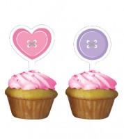 "Cupcake-Topper ""Cute as a Button - Girl"" - 12 teilig"
