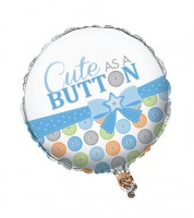 "Runder Folienballon ""Cute as a Button - Boy"""