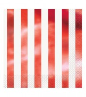 "Servietten ""Stripes"" - metallic-rot - 16 Stück"