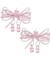 Schleife mit Teddy und Schnuller - rosa - 6,5 cm - 2 Stück