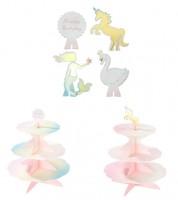 Cupcake-Ständer mit vier Toppern - pastell