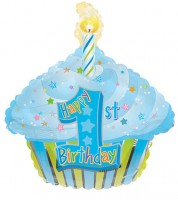 "SuperShape-Folienballon Cupcake ""Happy 1st Birthday"" - blau"