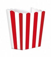 Popcornboxen mit Streifen - rot - 5 Stück