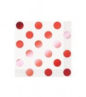 "Cocktail-Servietten ""Dots"" - metallic-rot - 16 Stück"