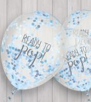 """Konfetti-Ballons """"Ready to pop"""" - blau - 5 Stück"""