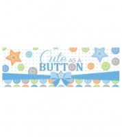 "Großer Partybanner ""Cute as a Button - Boy"" - 152 cm"