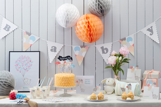 Neutrale baby shower deko deko serien babyparty baby for Baby shower party deko