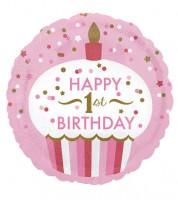 "Runder Folienballon Cupcake ""Happy 1st Birthday"" - rosa/gold"