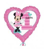 "Herz-Folienballon ""Minnie 1st Birthday"""
