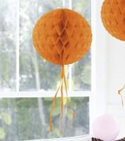 Wabenball mit Tasseln - 30 cm - orange