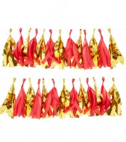 DIY-Tassel-Girlande - rot/gold metallic - 2 m