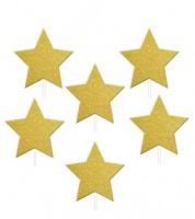 """Cupcake-Topper mit Glitter """"Stern"""" - gold - 12 Stück"""