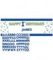 """Individualisierbarer Partybanner """"Happy One - blau"""" - 152 x 50,8 cm"""