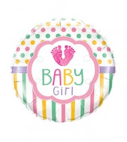 "Runder Folienballon ""Footprints Baby Girl"" - 46 cm"