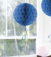 Wabenball mit Tasseln - 30 cm - dunkelblau