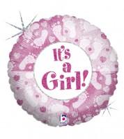 """Runder Folienballon """"Babyfüßchen"""" - It's a Girl"""
