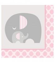 """Servietten """"Kleiner Elefant - rosa"""" - 16 Stück"""
