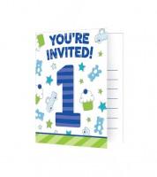 """Einladungskarten """"Happy One - blau"""" - 8 Stück"""