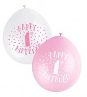 "Luftballon-Set ""Happy 1st Birthday"" - rosa/weiss - 23 cm - 10 Stück"