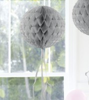 Wabenball mit Tasseln - 30 cm - silber