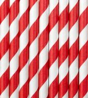 Papierstrohhalme gestreift - rot - 10 Stück