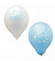"Luftballon-Set ""It'sa Boy"" - hellblau/weiß - 12 Stück"