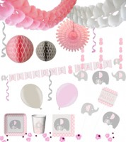 "Baby Party Deko-Set ""Kleiner Elefant - rosa"""