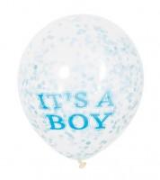 "Konfetti-Ballons ""It's a Boy"" - blau/weiß - 6 Stück"