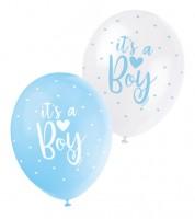 "Perlmutt-Luftballon-Set ""It's a Boy"" - hellblau/weiß - 30 cm - 5 Stück"