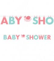 "Baby Shower-Girlande ""Hello Baby - rosa"" - 2,42 m"