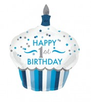 "Supershape-Folienballon Cupcake - ""Happy 1st Birthday"" - blau/silber"