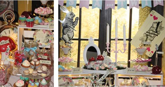 Photo Booth Probs zieren in Form von Hase und Tarot Karten den Sweet Table der Alice im Wunderland Babyparty