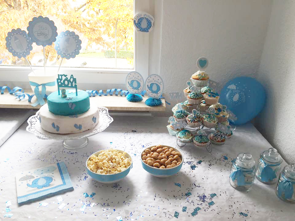 Im babyfanten marsch zur baby party s e deko in blau for Baby shower party deko