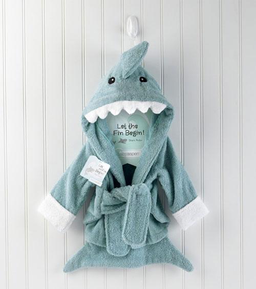 Babybademantel Geschenk Geburt Baby Shower Haifisch Blau