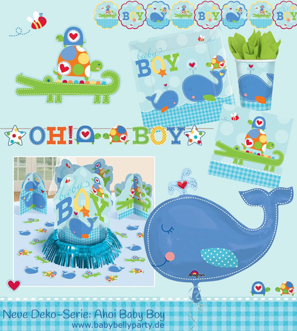 "Neue Babyparty Dekoration mit Wal- und Krokodil-Motiven ""Ahoi Baby Boy"" bei Baby Belly Party"