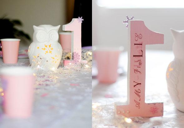 Zahl aus Holz für den 1. Geburtstag einer kleinen Prinzessin