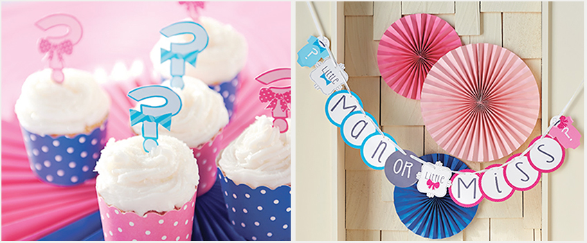 Cupcakes in Pink und Blau und ein Banner zur Gender Reveal