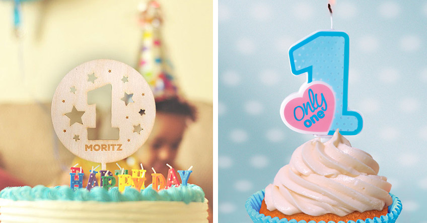 Individuelle Holz-Cake-Topper und süßes Zubehör zum 1. Geburtstag