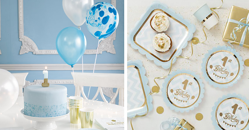 Auch klassisch ist zum 1. Geburtstag schön - süße Deko in Blau