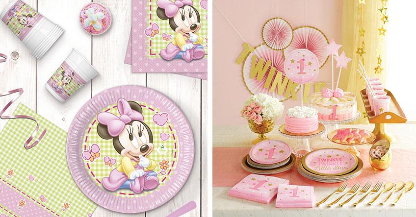 Dekorier den 1. Geburtstag deiner Kleinen mit süßer Minnie Maus oder klassisch in Rosa