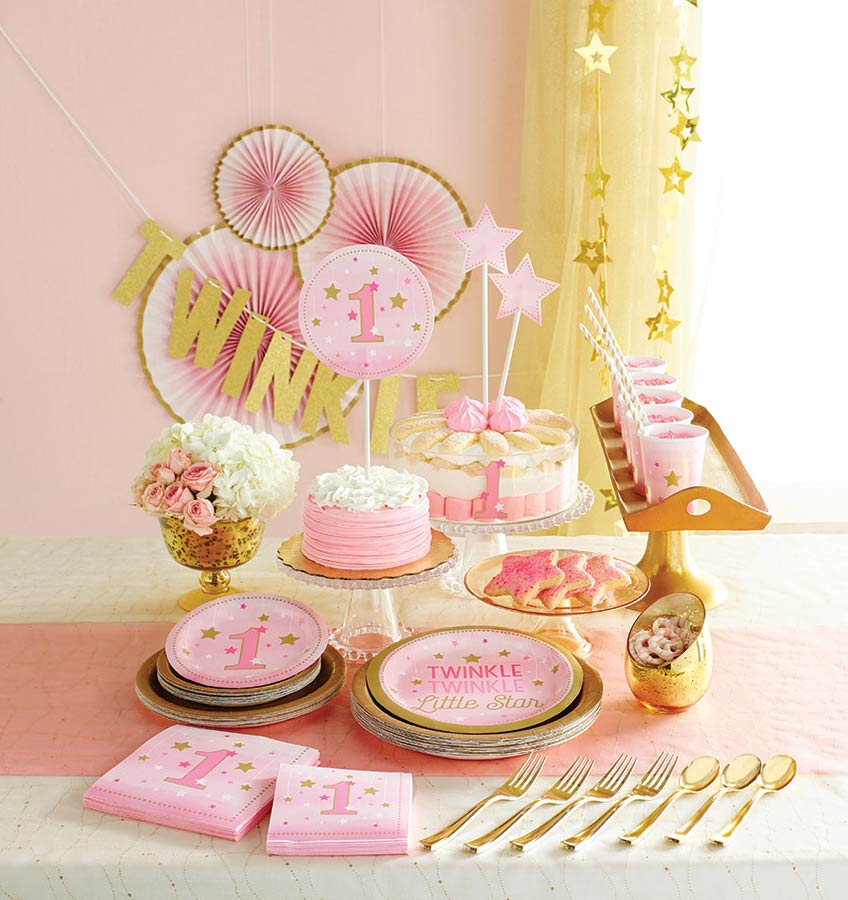 Twinkle, twinkle little Star - Geburtstagsdeko in Rosa und Gold für deine Tochter