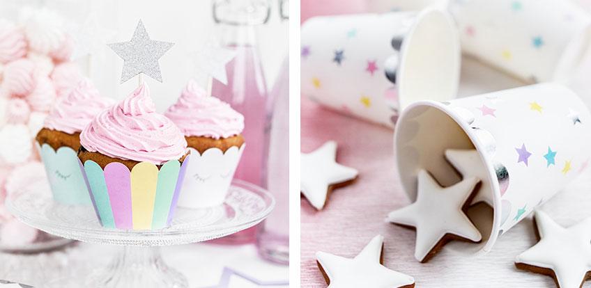 Dekoriere zum 1. Geburtstag Cupcakes mit Stern-Topper oder fülle Kekse in Sternchen-Becher