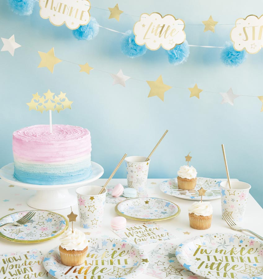 Unsere Geburtstags-Deko für Jungen und Mädchen: Ein Sternenmeer in Rosa, Blau, Gold und Silber